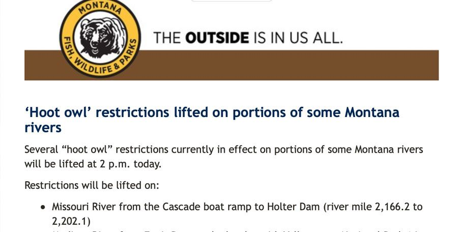 Hoot Owl Restrictions Lifted