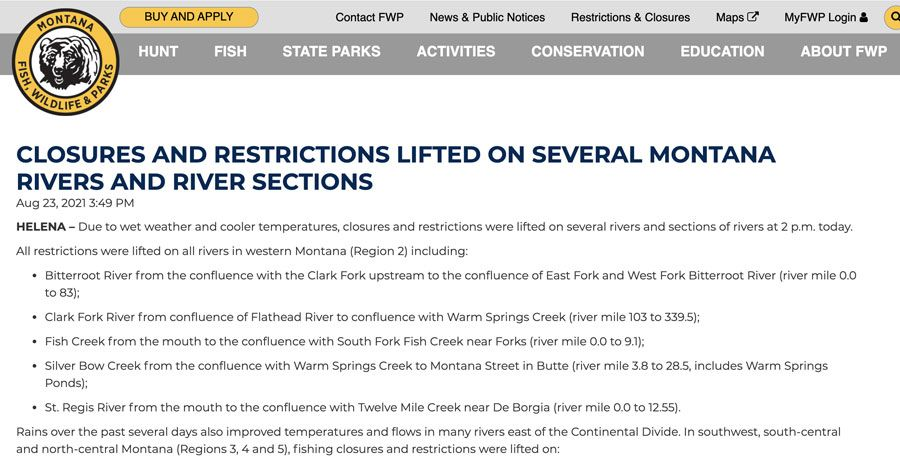 River Restrictions Lifted